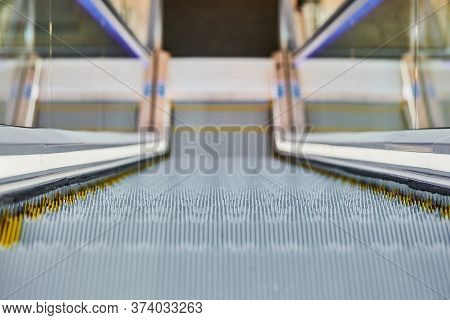 Escalator In Shopping Center. Close Up Escalators Stairs Up And Down In Office Building, Shopping Ma