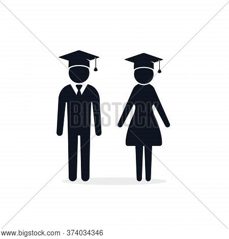 Graduate Girl And Boy In Square Cap Or Hat Vector Icon. Female And Male In Mortar Hat And Graduation