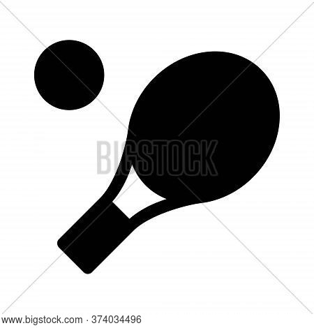 Table Tennis Racket Icon. Ping Pong Paddle And Ball Symbol.