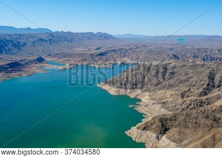 Aerial View Of Lake Mead, Man Made Lake That Lies On The Colorado River, States Of Nevada And Arizon
