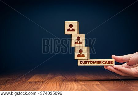 Customer Care Balance Concept. Hand Of Manager Balancing Cubes With Icons Of Customers, Bottom Piece