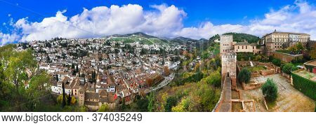 Travel and landmarks of Spain in Andalusia - wonderful Granada cityview and splendid Alhambra complex