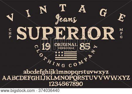 Handwritten Calligraphic Alphabet For T-shirt Or Apparel. Vintage Brush Script Lettering Font.textur