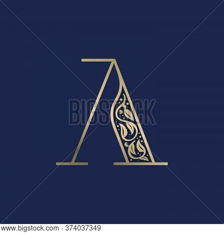 Vintage A Letter Logo With Premium Decoration. Classic Line Serif Font. Vector Icon Perfect To Use I