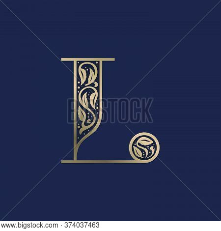 Vintage L Letter Logo With Premium Decoration. Classic Line Serif Font. Vector Icon Perfect To Use I