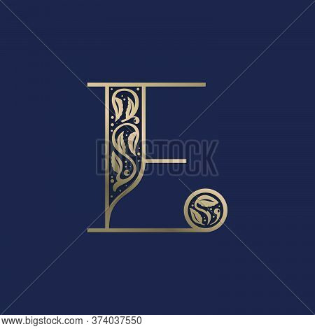 Vintage E Letter Logo With Premium Decoration. Classic Line Serif Font. Vector Icon Perfect To Use I