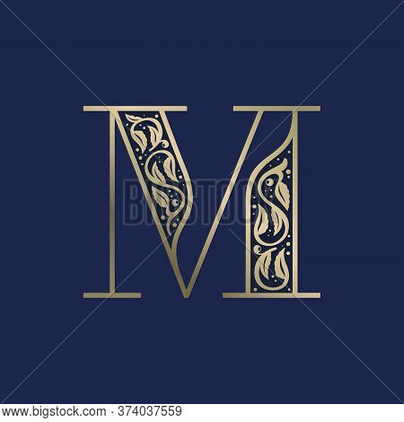 Vintage M Letter Logo With Premium Decoration. Classic Line Serif Font. Vector Icon Perfect To Use I