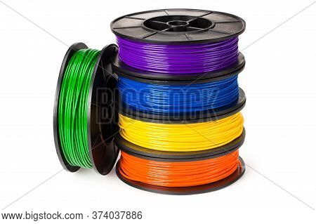 Black, Red, Blue, Green, Violet, Orange, Yellow, White Filament 3D Printer Isolated On White Backgro