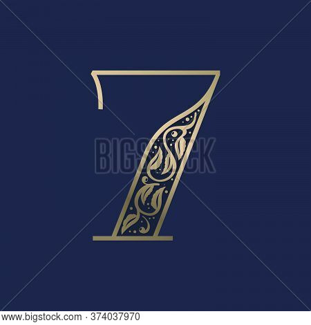 Vintage Number Seven Logo With Premium Decoration. Classic Line Serif Font. Vector Icon Perfect To U