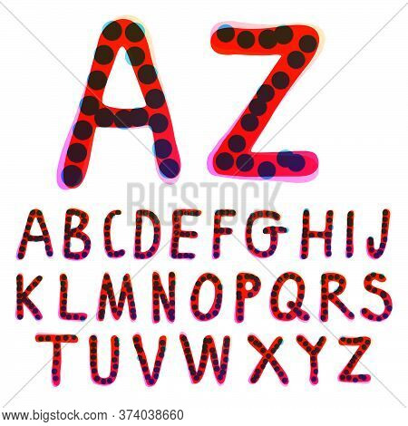 Alphabet Handwritten With A Red Felt-tip Pen. Perfect Vector Icon For Kids Design, Funny Craft Packa
