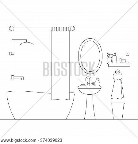 Cozy Bathroom Linear Interior Scene With Furniture Isolated On White Background. Hotel Or Home Room
