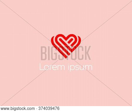 Heart Logo Design Template. Valentines Day Ribbon Logotype. Universal Cardiology Medical Health Sign
