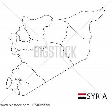 Syria Map, Black And White Detailed Outline Regions Of The Country.