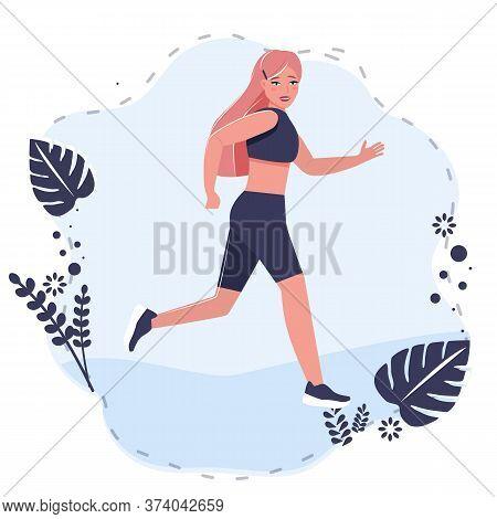 Beauty Girl In Sportswear Runner, Jogging, Sportive Walking.