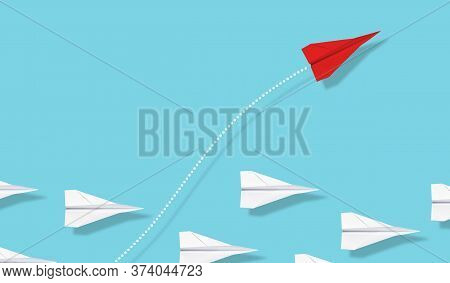 Red Paper Plane Emerge From Group Of White Paper Planes On Blue Background, Business Concept For Lea