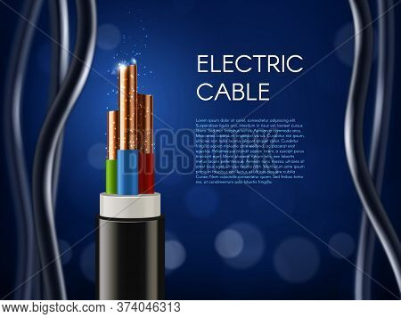 Electric Cable With Copper Wire Conductors. Vector 3d Wiring, Realistic Wire Cable With Multicolored