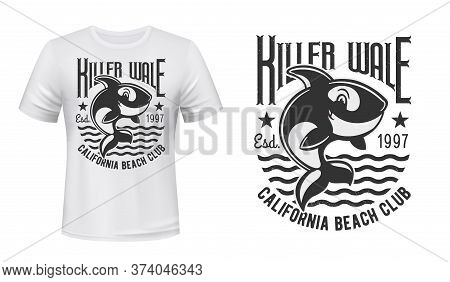 Killer Whale T-shirt Print Vector Mockup. Cute Orca Character Jumping Out Of Water, Killer Whale Fun