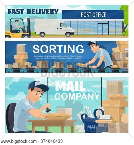 Postal Office Sorting Line, Delivery. Courier Driving A Van, Postman Or Mailman Sorting Packages On