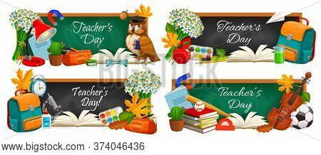 Teacher Day, Vector Chalkboard Banners With Education Supplies And School Books. School, College And