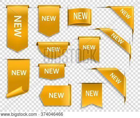 Golden Ribbons, Banners And Labels. Web New Goods Golden Vector Banners, Realistic Glossy Gold Label