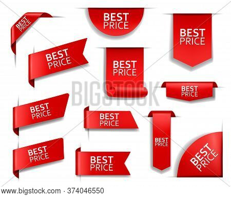 Best Price Red Vector Banners And Corners, Labels And Tags. Web Sale Isolated 3d Icons. Realistic Ri
