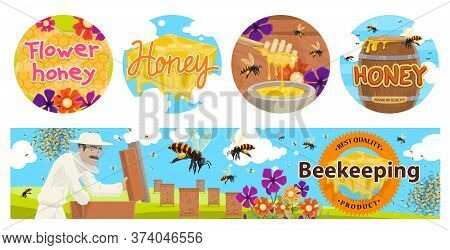 Beekeeping, Apiary Agriculture Vector Banners With Beehives, Beekeeper In Protective Suit, Barrel An