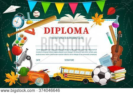 Kids Diploma For Kindergarten Or School, Vector Shedule Template. Education Certificate With Sport I