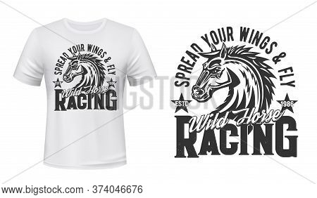 Stallion Horse Riding And Racing T-shirt Vector Mockup Template. Wild Horse Or Mustang, Racehorse He