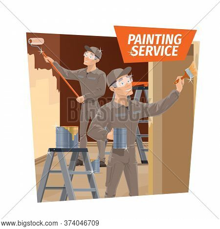 Wall Painting And Wood Varnishing, Repair Service. Workers In Overalls And Goggles, Using Roller And