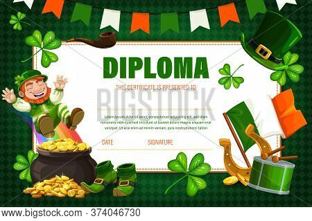 Kids Diploma, Children Education Certificate With Irish Leprechaun Vector Template. Saint Patrick Da