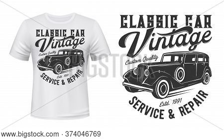 Vintage Car T-shirt Vector Mockup, Apparel Custom Design Print. Old Black Enclosed Limousine Car And