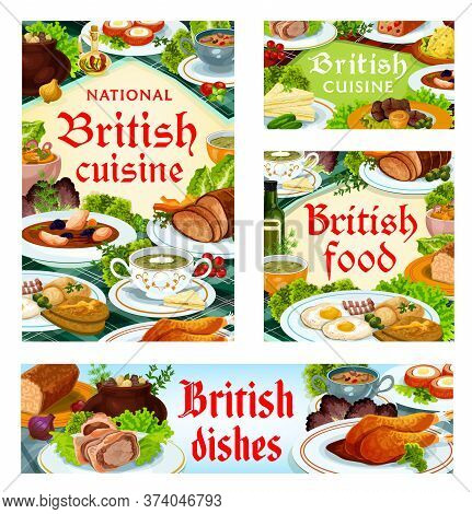 Britain Cuisine, English Food Vector Kok-e-liki Scotch Soup, Scotch Smoked Trout Plate And Kidney So