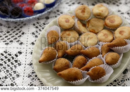 Coxinha And Empada Brazilian Snack. Several Delicious Snacks With Chicken On White Plate