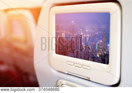 Aircraft Monitor In Front Of Passenger Seat Showing Image From Victoria Harbour,hongkong