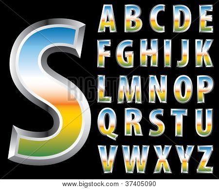 3d steely alphabet with reflection of the landscape