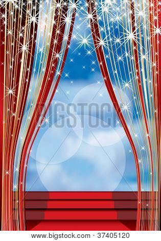 vector stage with red carpet on stairs and cloudy sky in background