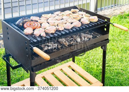 Summer Meat Bbq Grill Party, Beef Steak On The Grill, Concept Of Summer Grilling, Barbecue, Bbq And
