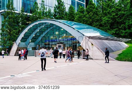 LONDON,UK - JULY 27,2019 :  The Canary Wharf undergound station in London