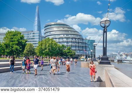 LONDON,UK - JULY 25,2019 : Summer in London with a view of the City Hall and The Shard