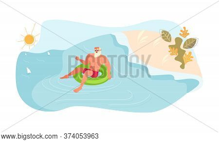 Young Man Floating On Inflatable Ring. Young Smiling Man Have Summer Activity At Sea. Flat Art Vecto