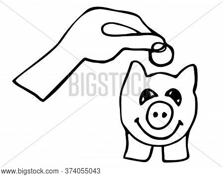 Black And White Icon Of A Hand Putting Coins In A Piggy Bank, Concept Of Saving Money, Vector Illust