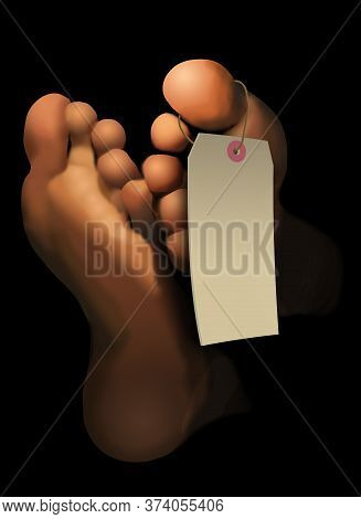 Feet Of A Deceased Person Are Depicted In This Illustration. A Blank Toe Tag Hangs On The Feet. This