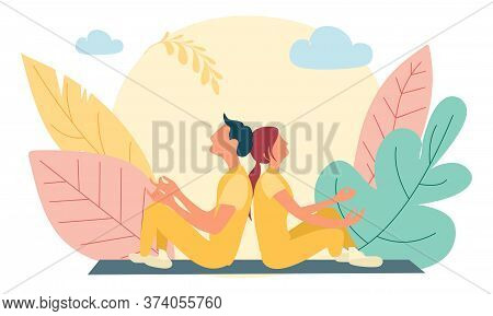 Shot Of Two Senior People Doing Yoga In The Class. Fitness People Sitting On The Exercise Mat And Re