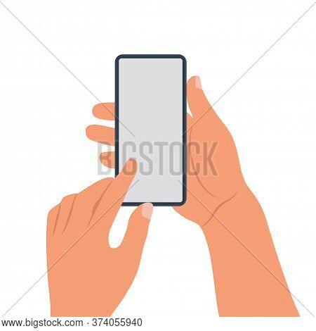 Male Hands Hold A Modern Black Smart Phone With Green Blank Screen On Neon Green Background Flat Lay