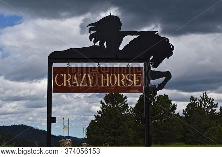 Custer, South Dakota, June 25, 2020:  A Silhouette Shape Of  Sculptor Korczak Ziolkowski's Crazy Hor