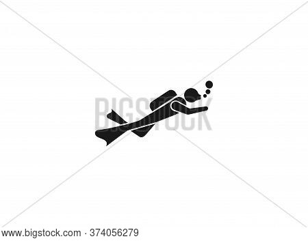 Scuba Diving Icon. Vector Diving Pictogram. Black Silhouettes Of Diving Objects Isolated On White. S