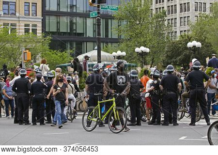 New York, New York/usa - June 2, 2020: Police Monitor Crowd On Union Square During George Floyd Prot