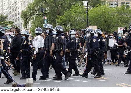 New York, New York/usa - June 2, 2020: Police Walk With Crowd On Union Square During George Floyd Pr