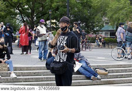 New York, New York/usa - June 2, 2020: Christian Preacher Witnessing During Black Lives Matter Prote