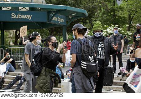 New York, New York/usa - June 2, 2020: Black Lives Matter Demonstrators Take Issue With Christian Pr